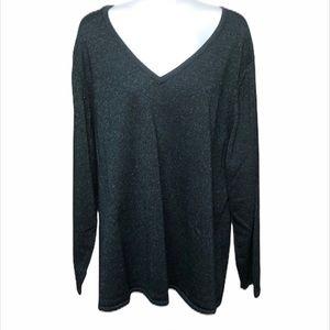 Jaclyn Smith Teal Metallic Sweater